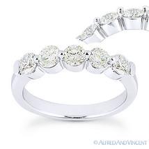 Round Cut Forever Brilliant Moissanite 14k White Gold 5-Stone Band Wedding Ring - €518,58 EUR - €1.062,67 EUR