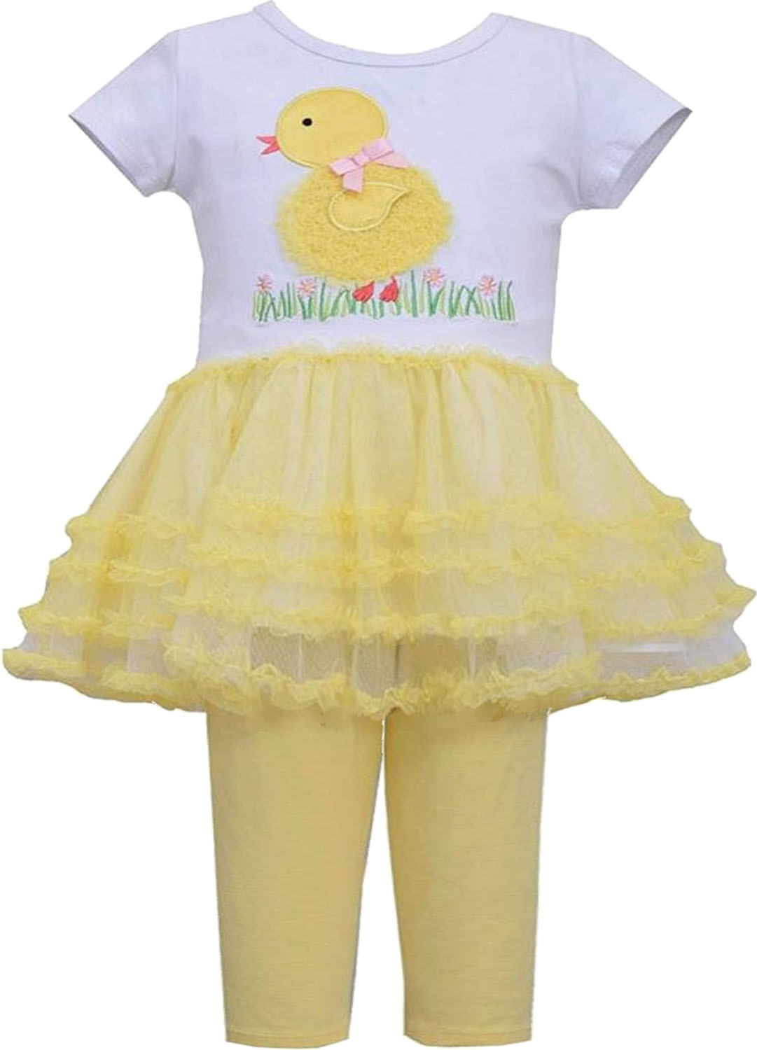 Bonnie Jean Baby Girl 3M-9M Yellow White Baby Chick Tutu Dress Legging Set