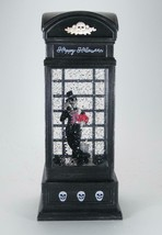 Lighted Skeleton in Phone Booth Spinning Water Globe 6 hr Timer Halloween Decor - $35.59