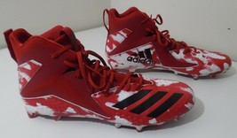 Adidas Men's Freak X Carbon Mid Men's Football Cleats, RED WHITE & BLACK Size 15 - $47.45