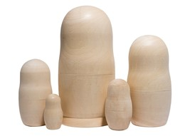"Unpainted Blank Nesting Doll 5pc./6"" - $19.00"
