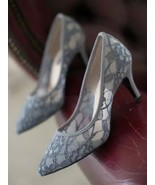 Low Heels Grey Lace Wedding Shoes,Gray Women Bridal Heels,Grey Evening S... - $58.00