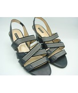 Alex marie Womens Navy White Dressy Leather Elastic Strappy Sandals Heel... - $17.75