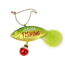Gone Fishing Green Lure Christmas Holiday Ornament Blown Glass - $42.92