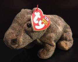 Ty Beanie Babies Tubbo The Hippo w/ 10 Years Tag 2003 Brown Hippopotamus... - $17.76