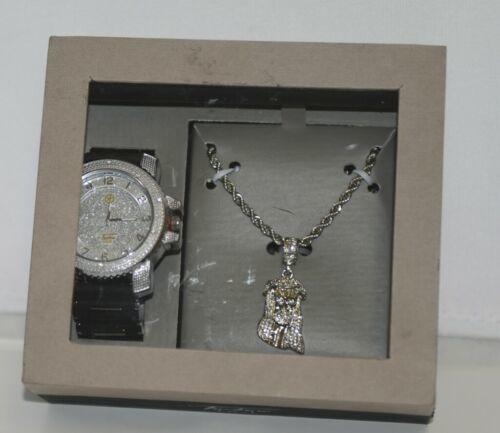 Techno Pave Dappen 1106C Silver Color Watch Jesus Necklace Simulated Diamonds