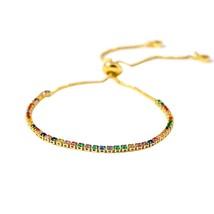 Yup Colorful Luxury Brand Zirconia Bracelet Rainbow Statement Copper Charm Bangl - $10.80