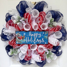 Patriotic Happy Holidays Cardinal Deco Mesh Wreath - $89.99