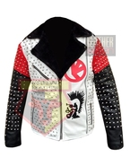 1056 MOTORCYCLE STYLE WESTERN STUDDED EMBROIDERED BLACK COWHIDE LEATHER ... - $198.99