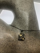 Vintage Citrine Sapphire Pendant Choker 925 Sterling Silver Deco Necklace - $114.84