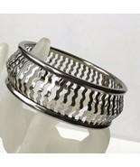 Vintage Silver Bangle Bracelet Wavey Cut Outs - $13.81