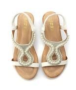 Odema Women' T-Strap Rhinestone Beaded Wedges Sandals Peep Toe Slip On S... - $26.93
