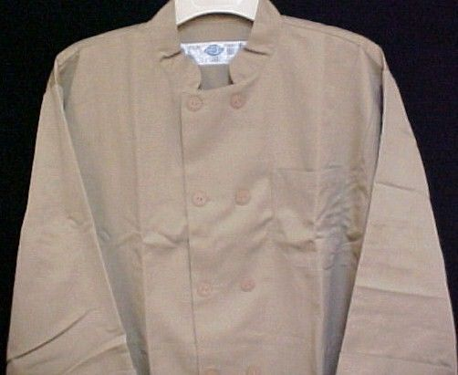 Dickies Chef Jacket 2XL Tan CW070305 Restaurant Button Front UniformCoat New