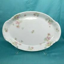 """Theo Haviland Limoges France 15"""" Oval Platter Pink Flowers  - $48.37"""