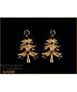 Signed Eisenberg Ice Christmas Tree Earrings Clips (#J1330) - $30.00