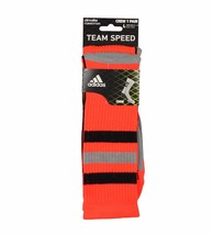 Adidas Team Speed Climalite Lg Crew Sock-Infrared/Black/Aluminum 2/Elect... - $15.99