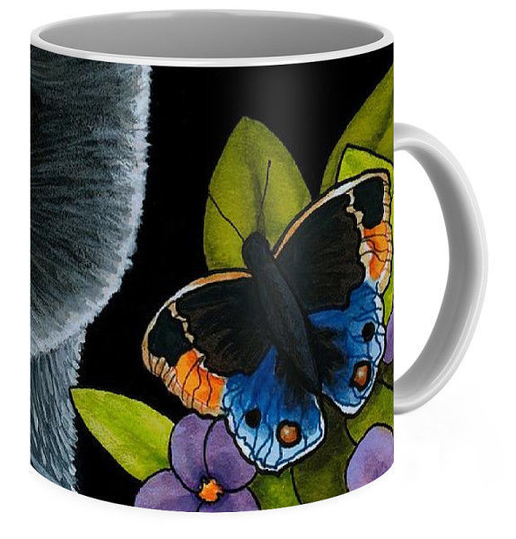 Coffee Mug Cup 11oz or 15oz Made in USA black Cat 557 butterfly art L.Dumas