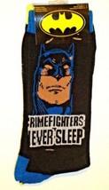 DC COMICS BATMAN CRIMEFIGHTERS NEVER SLEEP MEN'S CREW SOCKS 6-12 2 PAIR NEW - $8.38