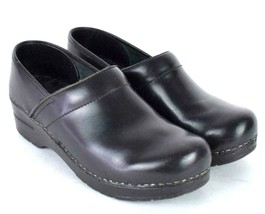 Sanita Black Leather Oxford Lace Up Nursing Clog Shoes Occupational 39 8... - $38.60