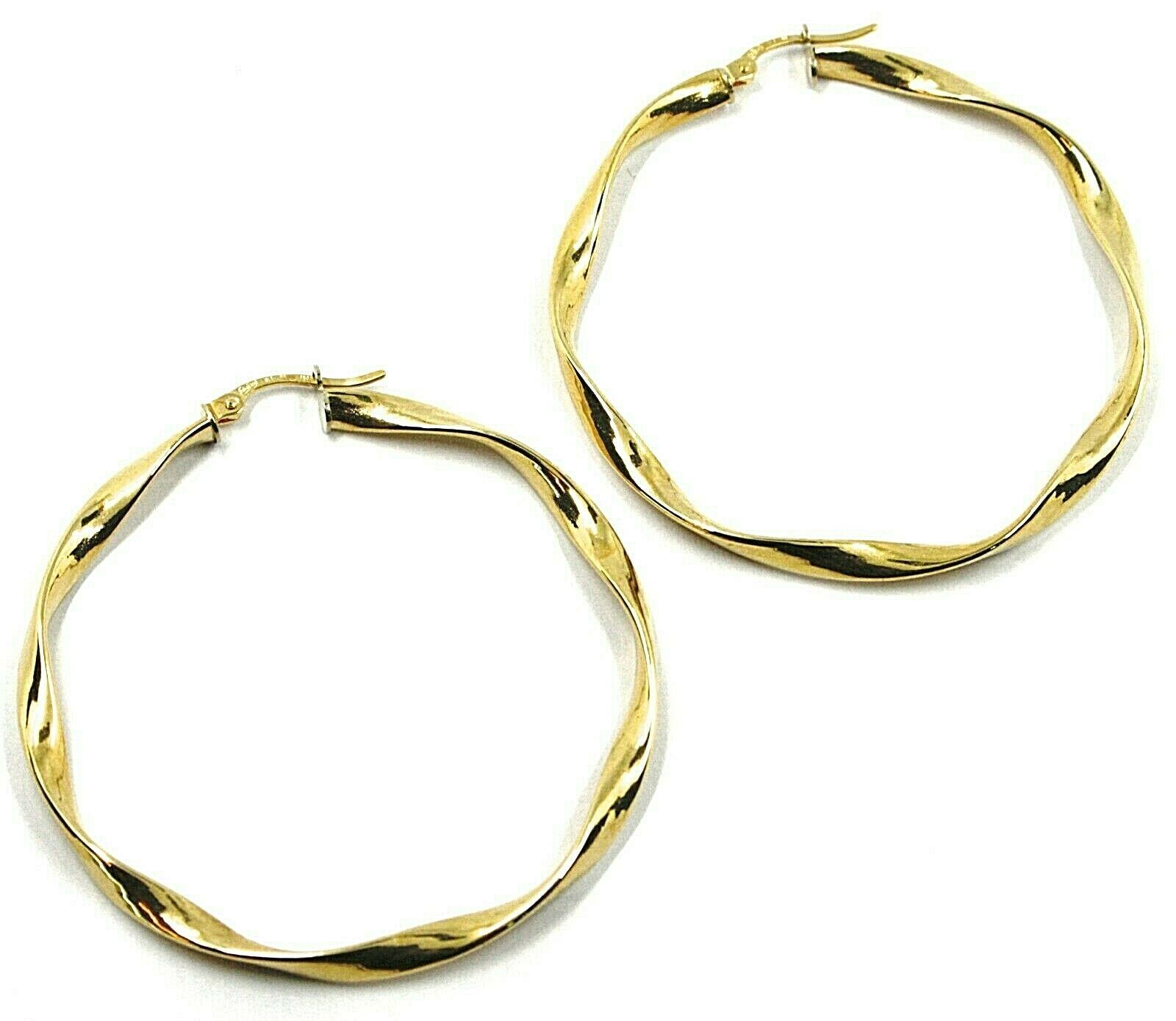 18K YELLOW GOLD CIRCLE HOOPS PENDANT EARRINGS, 4.7 cm x 4 mm BRAIDED, TWISTED