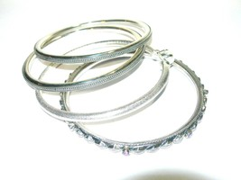 ESTATE FINE STERLING SILVER TEXTURED BEAUTIFUL BANGLE BRACELET JEWELRY LOT - $215.00