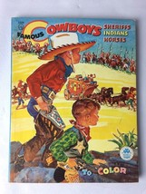 1956 Merrill Famous Cowboys Coloring Book Sheriffs Indians Horses - $21.75