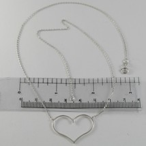 18K WHITE GOLD NECKLACE WITH 1.06 IN HEART AND MINI SQUARED CHAIN MADE IN ITALY image 1