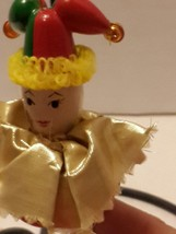 """Court Jester Harlequin Christmas Ornament Red Green Gold Jingle Bells 4""""... - $10.69"""