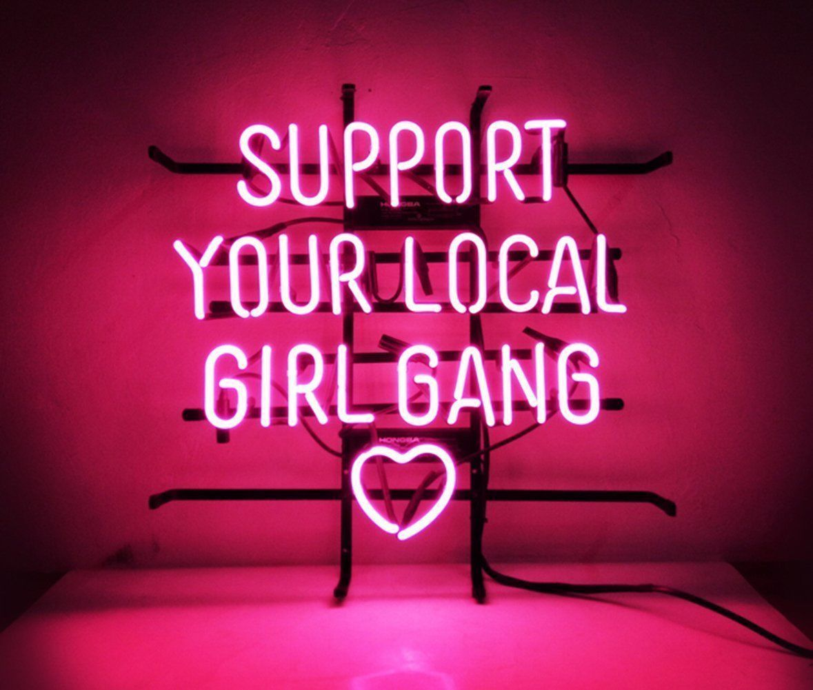 """New Support Your Local Girl Gang Heart Neon Sign 24"""" Ship From USA"""