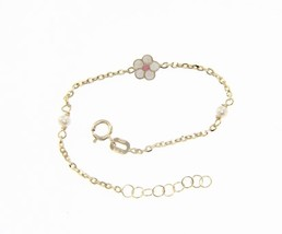 18K YELLOW GOLD BRACELET FOR KIDS WITH GLAZED FLOWER MADE IN ITALY 5.5 INCHES image 1
