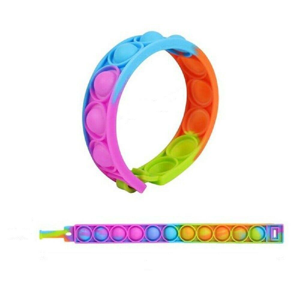 Push Bubble Sensory Toy Fun Color Silicone Bracelet Decompression Anxiety Wrist