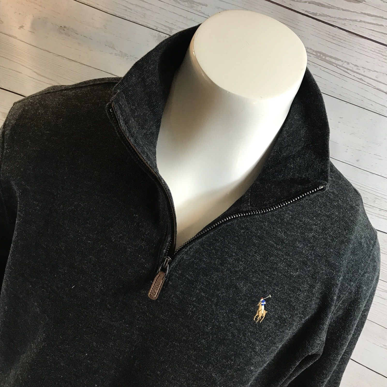 6e1248435 Polo Ralph Lauren Dark Gray Rib Half Zip Pull Over Sweater Color Pony NWT  Sz M