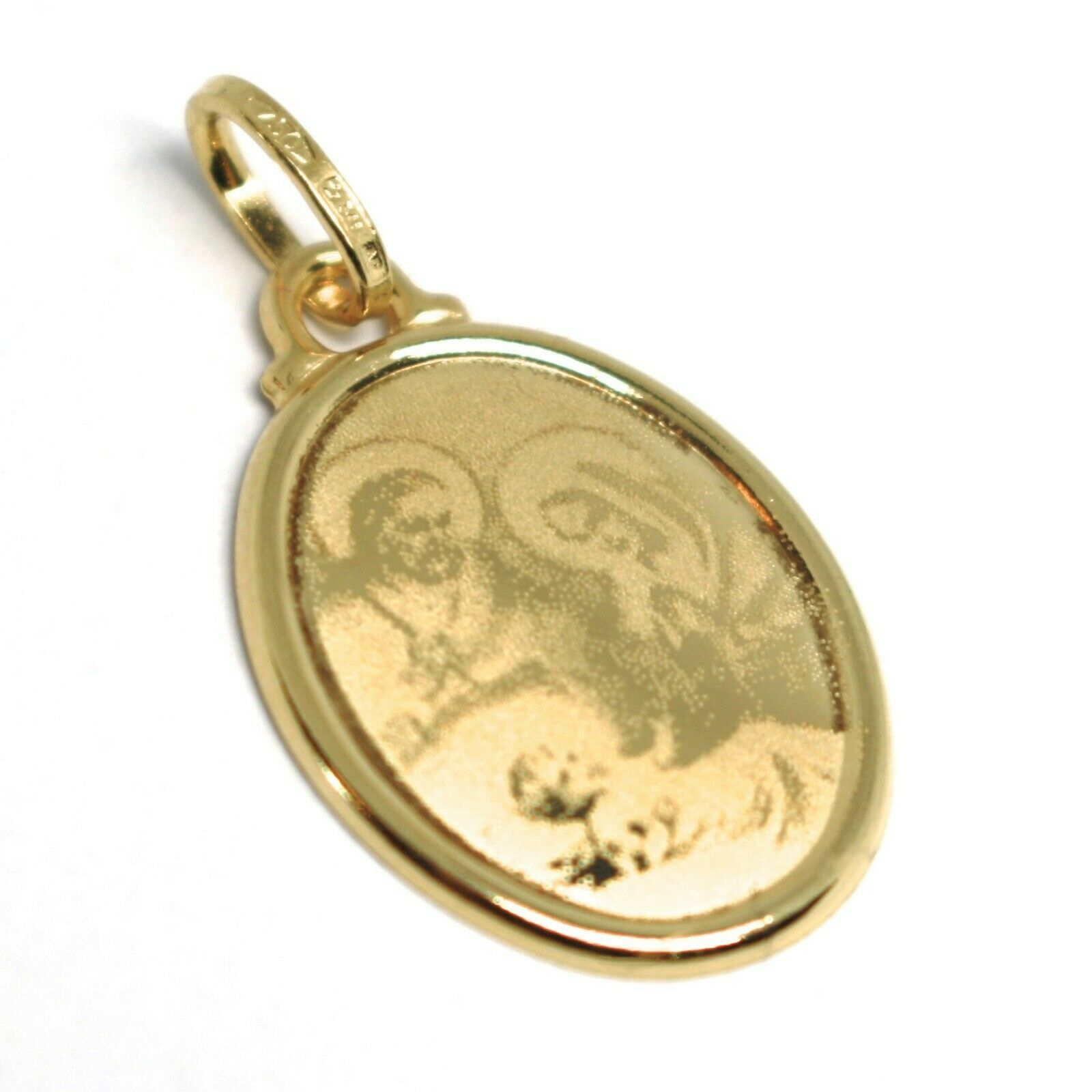 Pendant Medal Yellow Gold 750 18K, Sacred Family, Mary Jane Joseph Jesus