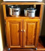 Solid Wood Microwave Cabinet Trolley Storage Cupboard Castor Wheels - $62.90
