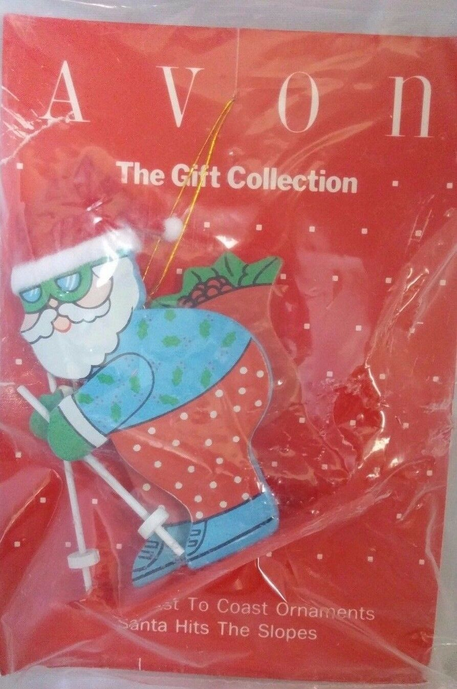 Avon Gift Collection Santa Coast to Coast Hits The Ski Slope Wood Ornament