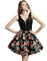 Short Satin Print Homecoming Party Dresses V-neck Prom Cocktail Gown for... - $115.00