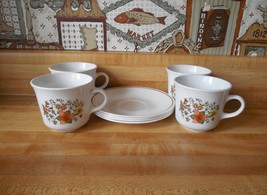 Corelle Indian Summer cups and saucers, Corning Ware, set of 4 Corelle dishes - $25.00