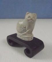 Vintage hand mini carved xiu jade cat on display wood stand circa 1950s ... - $24.51