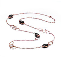 Rose Sterling Silver Black Cubic Zirconia CZ Gems By The Yard Necklace - $169.99