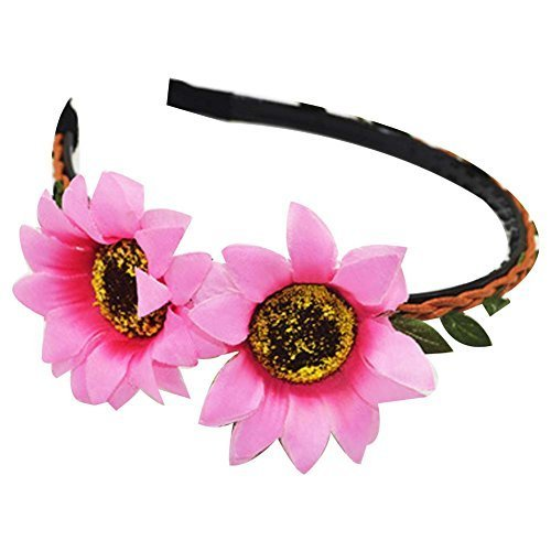3 Pcs Creative Sunflower Beach Woven Cloth Hair Bands Headdress