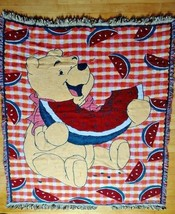 Winnie the Pooh Watermelon Disney Fringed Woven Tapestry Throw Blanket - $39.99