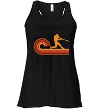 Retro Style Baseball Player Silhouette Sports Flowy Racerback Tank - $26.95+