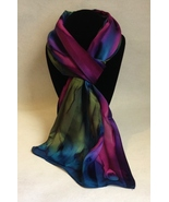 Hand Painted Silk Scarf Reddish Purple Olive Green Blue Ladies Head Neck... - $44.00