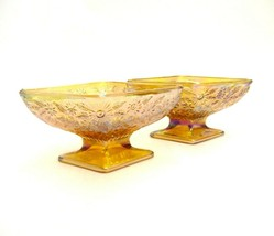 "PAIR OF MATCHING CARNIVAL GLASS PARALLELOGRAM FOOTED CANDY DISHES 6.5"" X... - $23.74"