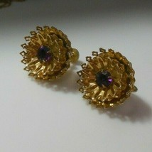 Vintage Faceted 2-Tier Filigree Prong Set Purple Stone Screw Back Earrings - $44.55