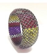 Bottega Veneta Bracelet Bangle Oxidized Silver Multi Colour Cage RRP £1840 - $482.00