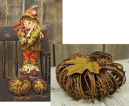 "Country NATURAL TWIG PUMPKIN Primitive Rustic Autumn Fall Decoration 6"" - $18.99"