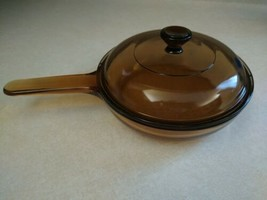 Corning Vision Ware  Skillet Amber Glass 7 Inch Waffle Bottom with Lid France - $18.49