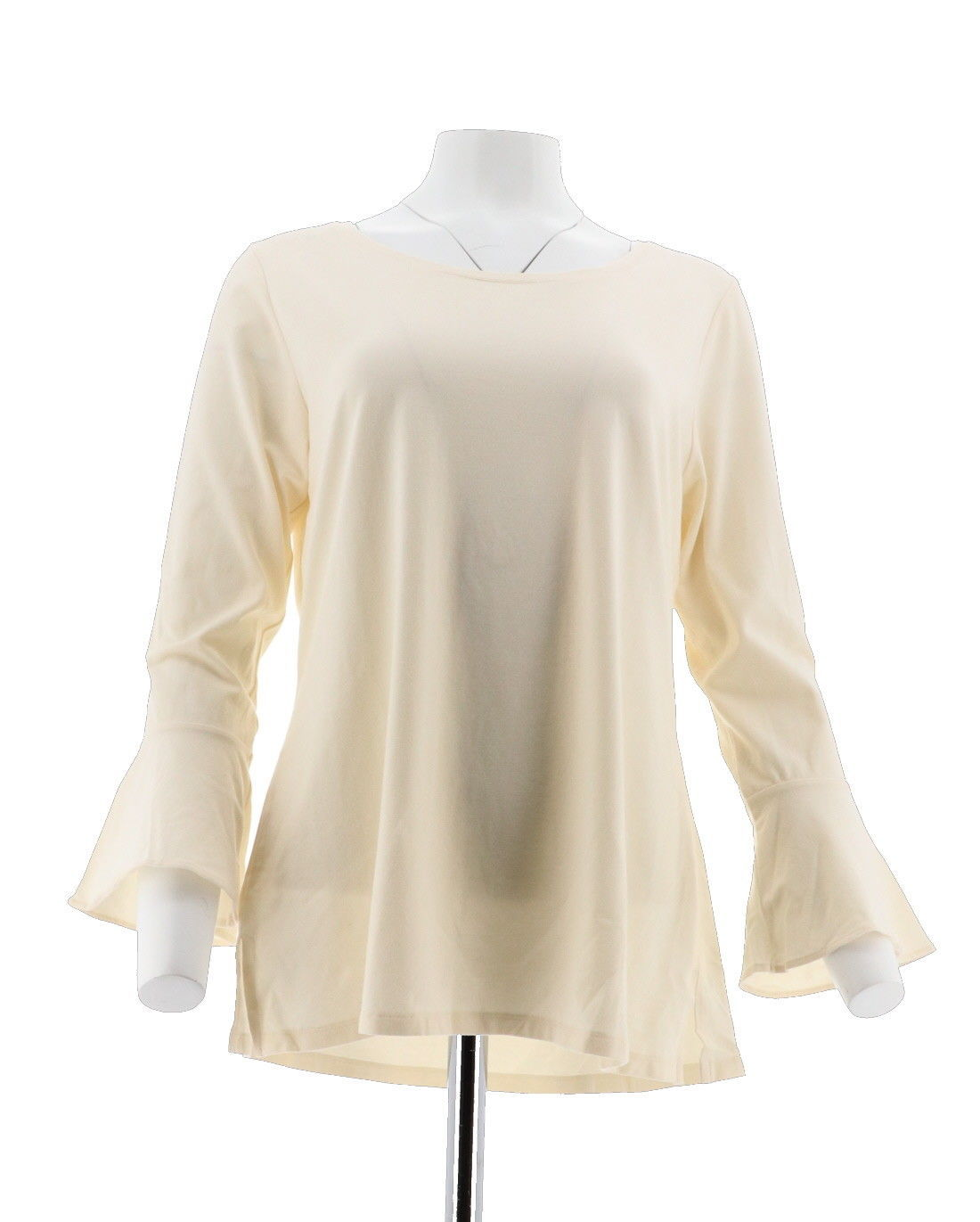 Primary image for Isaac Mizrahi Scoop Neck Top Bracelet Ruffle Slv Cream L NEW A294436