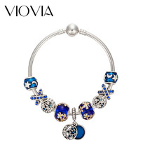 VIOVIA Simple Charm Bracelets & Bangle Blue Crystal Star Moon Pendant Br... - $10.33